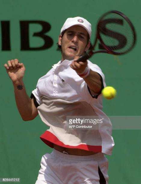French Jerome Golmard hits a forehand to German Tommy Haas 29 May 2001 during their first round match at the French Open in Roland Garros Paris Haas...