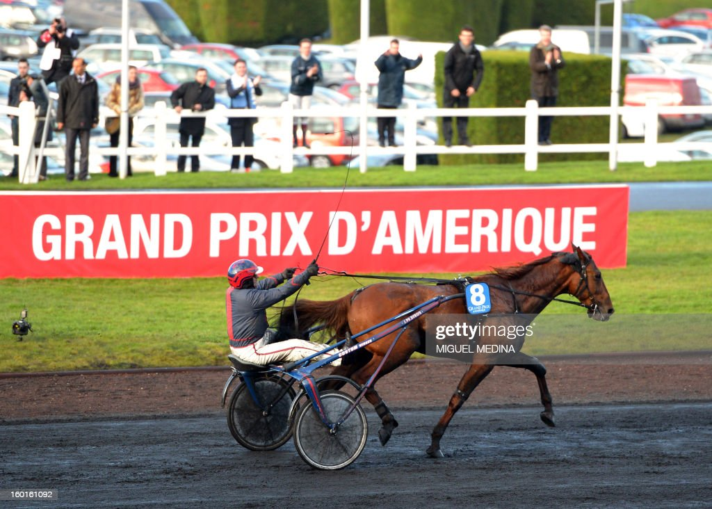 French jockey Jean-Philippe Dubois with French horse 'Royal Dream', won the 92nd Grand Prix d'Amerique, the most prestigious trotting race in Europe, on January 27, 2013 at the Vincennes racetrack, east of Paris. The race was created in 1920 to honor US soldiers who fought during World War I.