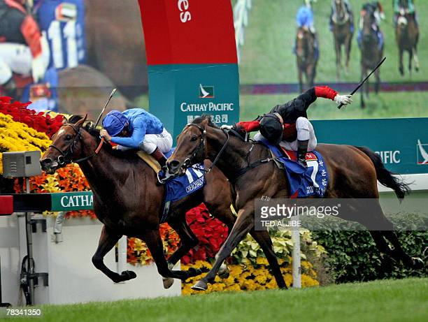 French jockey Olivier Doleuze riding horse Good Ba Ba races to the finish line to win the Hong Kong Mile race event at Sha Tin Racecourse in Hong...