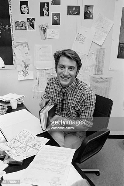 French journalist actor and film director Antoine de Caunes during the era of television shows 'Les enfants du rock' et 'Rapido'