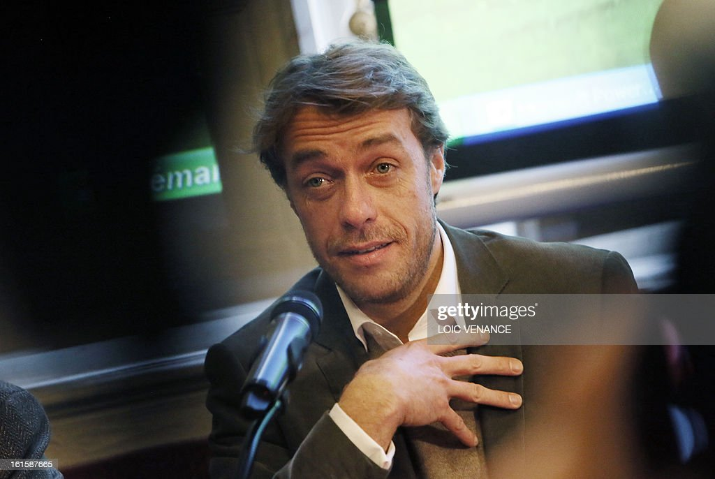 French journalist and documentary filmmaker Stephane Gabet speaks during a press conference in Paris on February 12, 2013, to present the reconstruction of the head of French King Henri IV (1553-1610). Gabet is at the start of the rediscovery of the skull. This reconstruction was made three years after a panel of forensic scientists identified the skull of the king who was murdered at the age of 57 on May 14, 1610, by a fanatic. Scientists headed by France's Philippe Charlier found a common genetic profile between the mummified head of Henri IV and dried blood from his descendant, Louis XVI.