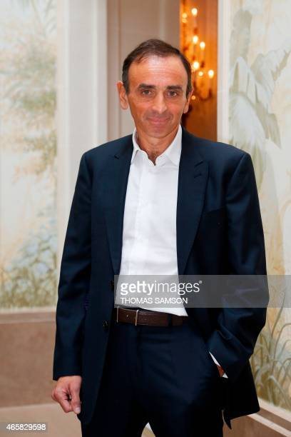 French journalist and essay writer Eric Zemmour poses at the Hotel Bristol in Paris on March 3 during the presentation of 'L'Express RTL' yearly...
