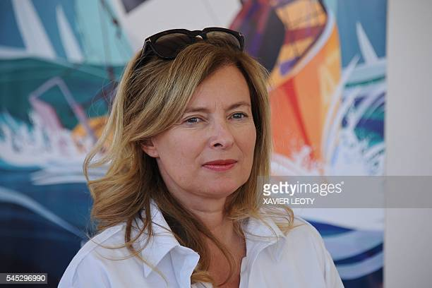 French journalist and former first lady of France Valerie Trierweiler poses during the Solitaire du Figaro sailing race off the coast of La Rochelle...