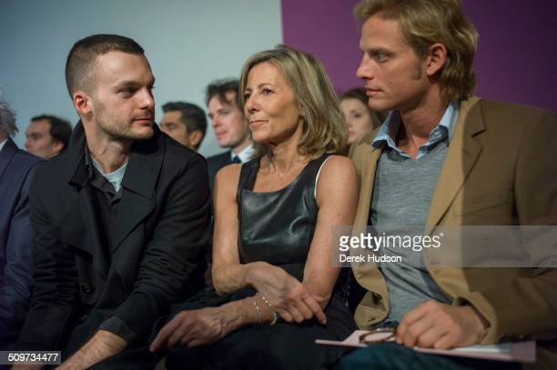 French journalist and news anchor Claire Chazal and former French model and actor and Arnaud Lemaire attend a Christian Dior fashion show