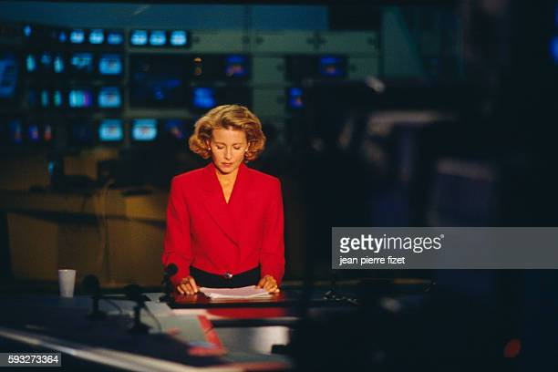 French journalist and news presenter Claire Chazal on the set of the evening news in TF1's new offices in BoulogneBillancourt