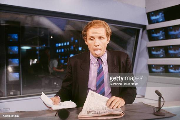 French journalist and newscaster Patrick Poivre d'Arvor on the set of the evening new for French channel TF1