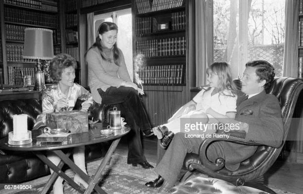French journalist and television and radio show host Philippe Bouvard at home with his family