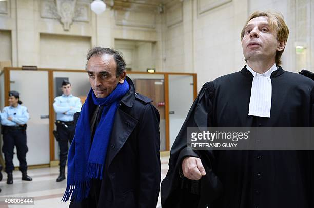 French journalist and writer Eric Zemmour and his lawyer Olivier Pardo arrive at the Criminal Court in Paris on November 6 where he is prosecuted for...