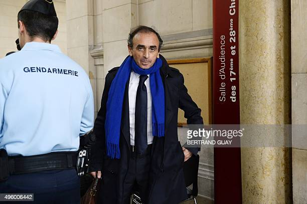 French journalist and writer Eric Zemmour arrives at the Criminal Court in Paris on November 6 where he is prosecuted for incitement to racial hatred...