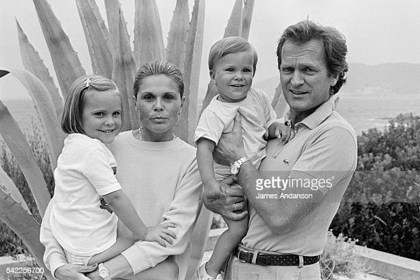 French journalist and writer Philippe Labro his wife Françoise and their children Clarisse and Jean during summer holidays