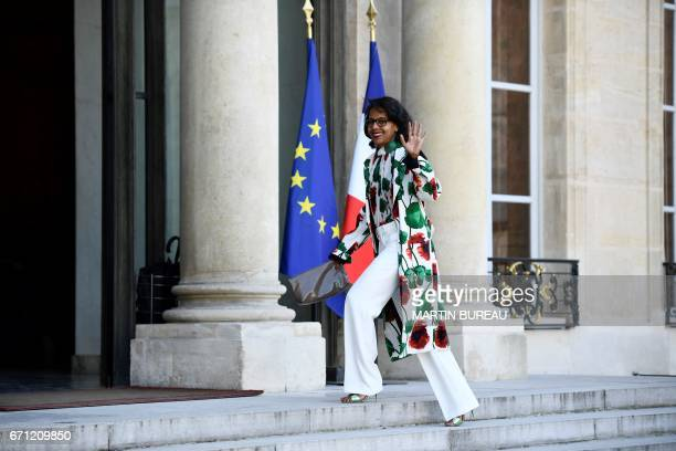 French journalist Audrey Pulvar arrives at the Elysee presidential palace to attend a reception in honour of Bill Gates on April 21 2017 in Paris /...