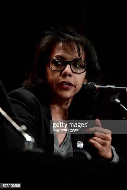 French journalist Audrey Pulvar gestures as she delivers a speech during a forum against abstention in Paris on May 5 two days ahead of the second...