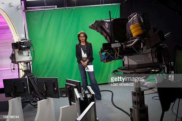French journalist Audrey Pulvar hosts the attends the 'Arret sur Info' TV show on I Tele news channel on January 31 2011 in Paris AFP PHOTO LOIC...