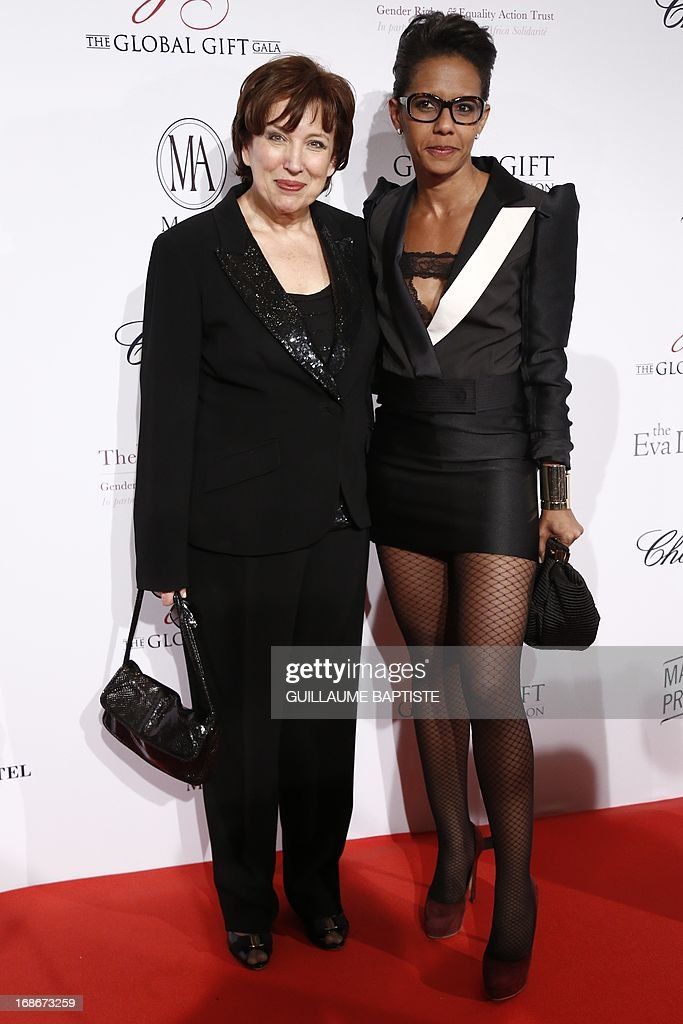 French journalist Audrey Pulvar poses next to former minister Roselyne Bachelot (L) before taking part in the 'Global Gift Gala' charity event, on May 13, 2013 in Paris.