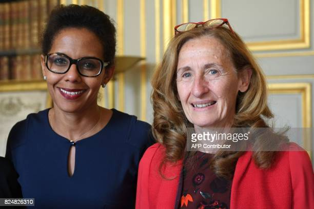 French journalist Audrey Pulvar posses with French Minister of Justice Nicole Belloubet at the Ministry of Justice in Paris on July 31 2017 / AFP...