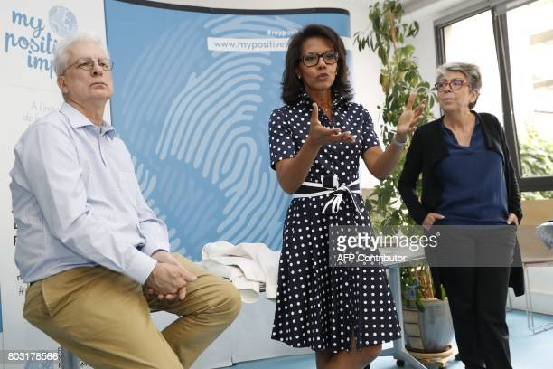 French journalist Audrey Pulvar speaks as General Director of the Foundation for Nature and Man Cecile Ostria and the foundation's vicepresident...