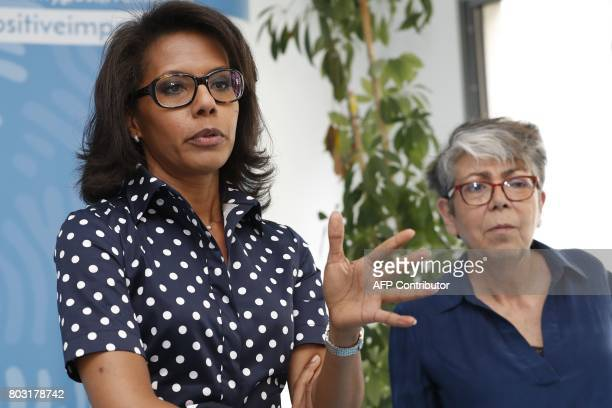 French journalist Audrey Pulvar speaks as General Director of the Foundation for Nature and Man Cecile Ostria looks on during a press conference on...