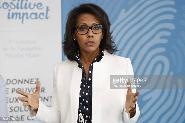 French journalist Audrey Pulvar speaks during a press conference on June 29 2017 in BoulogneBillancourt a day after she was elected new president of...