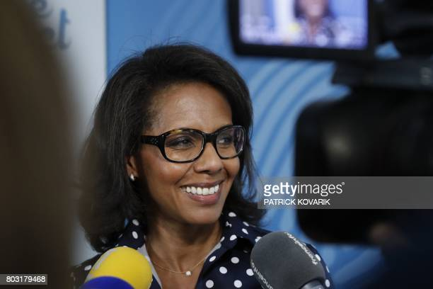 French journalist Audrey Pulvar speaks within a press conference on June 29 2017 in BoulogneBillancourt a day after she was elected new president of...
