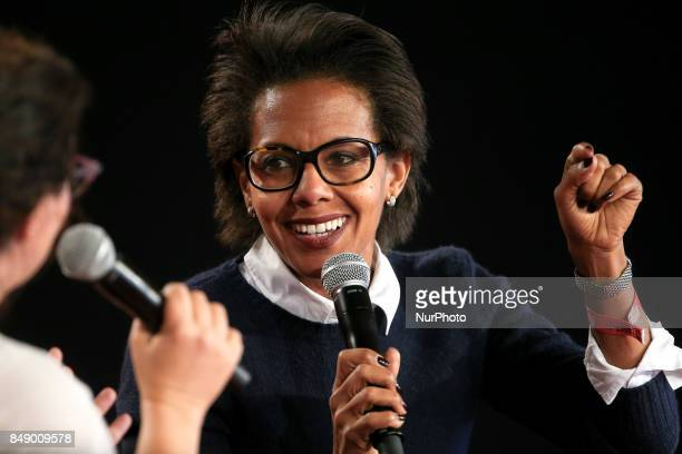French journalist Audrey Pulvar takes part in a debate during the Festival of Humanity a political event and music festival organised by the French...