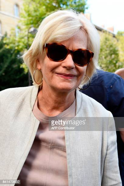 French journalist Catherine Ceylac arrives at the SaintSulpice church to attend the funeral of late actress Mireille Darc on September 1 2017 in...