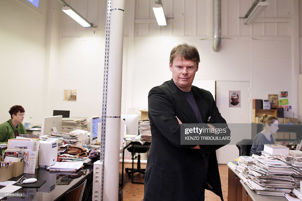 French journalist Frederic Bonnaud poses on January 18, 2013 at Les Inrockuptibles magazine headquarters in Paris. Frederic Bonnaud is named as general director of Les Inrockuptibles, a monthly cultural magazine.