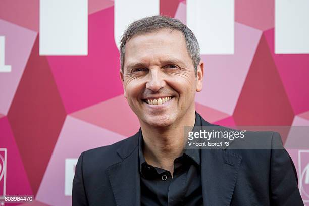French journalist host and producer of television Thomas Hugues attends a press conference of RTL radio which announces its 2016/2017 schedule on...