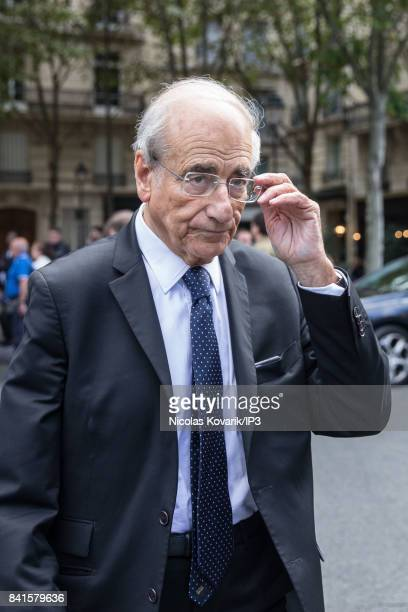 French Journalist Jean Pierre Elkabbach attends Mireille Darc's Funeral at Eglise Saint Sulpice on September 1 2017 in Paris France French actress...