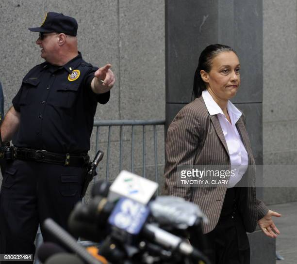 French journalist Laurence Haim leaves United States Courthouse in New York June 29 2009 after Bernard Madoff recieved 150 years in prison for his...