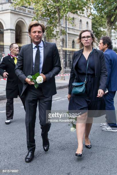 French Journalist Laurent Delahousse attends Mireille Darc's Funeral at Eglise Saint Sulpice on September 1 2017 in Paris France French actress died...