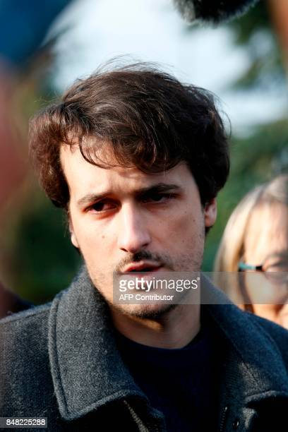 French journalist Loup Bureau addresses media representatives after his arrival at RoissyCharles de Gaulle Airport on the outskirts of Paris on...