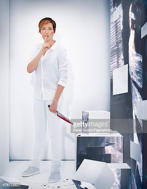 108875007 French journalist Natacha Polony is photographed for Madame Figaro as Dexter Morgan from 'Dexter' on January 17 2014 in Paris France Shirt...