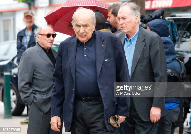 French journalist Pierre Benichou leaves after the funeral ceremony for late French actor Claude Rich at the SaintPierre SaintPaul church in Orgeval...