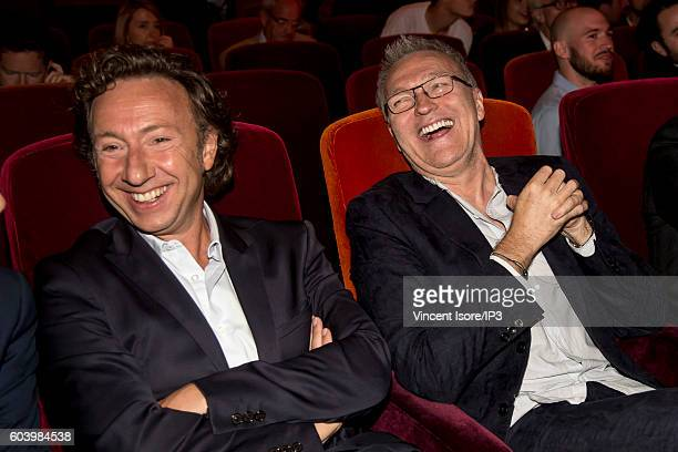 French journalist radio host television presenter and writer Stephane Bern and French host of TV and radio television producer and theater and...
