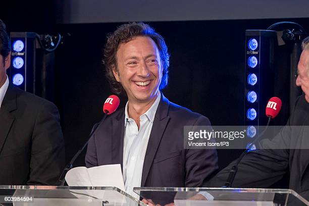 French journalist radio host television presenter and writer Stephane Bern attends a press conference of RTL radio which announces its 2016/2017...
