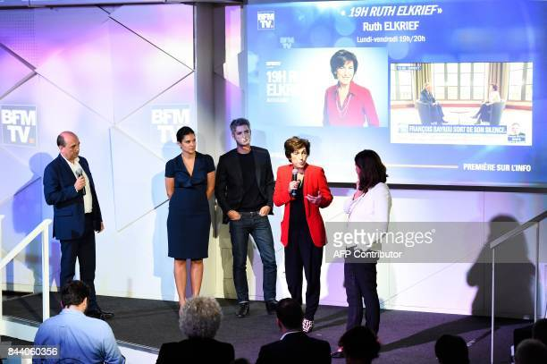 French journalist Ruth Elkrief takes part in a press conference to present the 2017/2018 season of BFM TV in Paris on September 8 2017 / AFP PHOTO /...