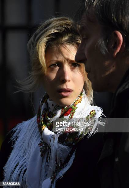 French journalist Tristane Banon leaves the church of SaintPierre du Gros Caillou in Paris on March 14 2017 after attending the funeral of French...