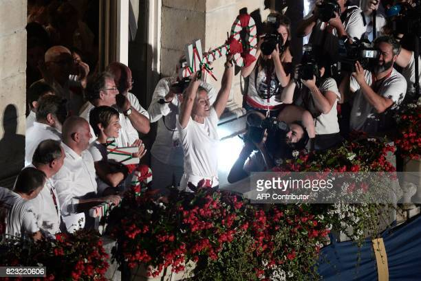 French journaliste and TV presenter AnneSophie Lapix takes part in the opening ceremony of the 81st Bayonne festival in Bayonne southwestern France...
