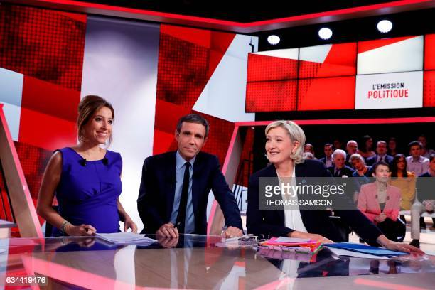 French journalists and television hosts David Pujadas Lea Salame and French presidential election candidate for the farright Front National party...