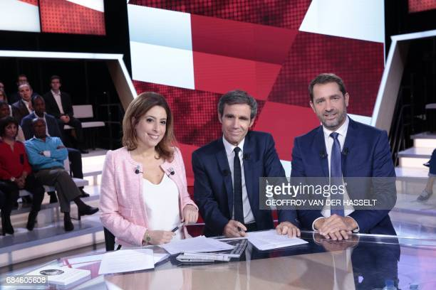 French journalists and TV hosts David Pujadas and Lea Salame pose with the newly appointed French Secretary of State for Parliamentary Relations and...