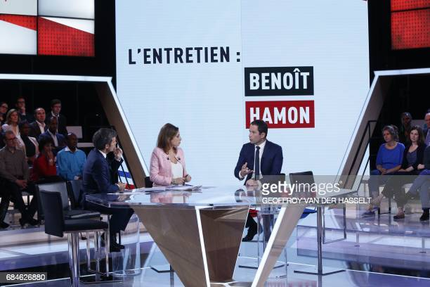 French journalists and TV hosts David Pujadas and Lea Salame talk with former French socialist presidential election candidate Benoit Hamon during...