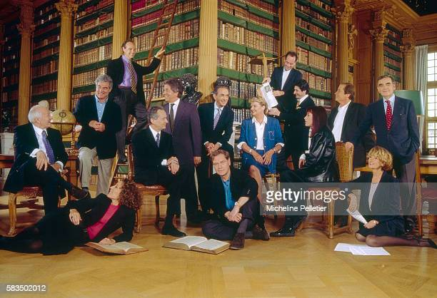 French journalists broadcasters actors and actresses familiar faces on French television gather in a library Pictured are Frederic Mitterand Georges...
