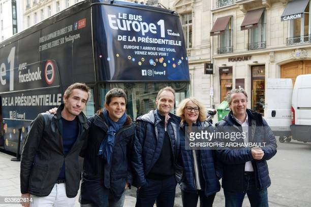 French journalists Nicolas Escoulan Thomas Sotto Fabien Namias Isabelle Millet and Nicolas Poincare pose for a picture during the launch of radio...