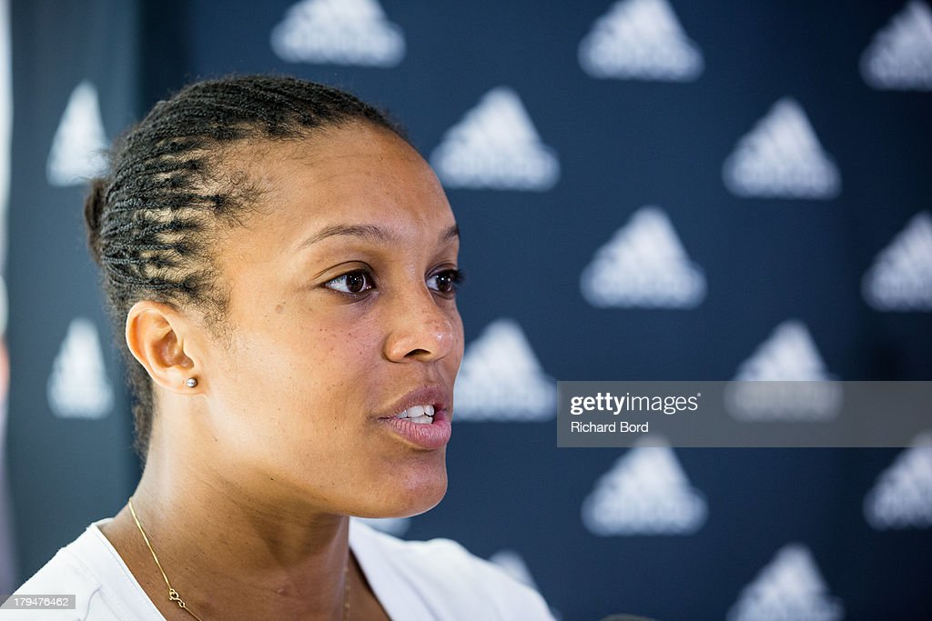 French Judo National Team member Lucie Decosse speaks to the media at Adidas Performance Store Champs-Elysees on September 4, 2013 in Paris, France.