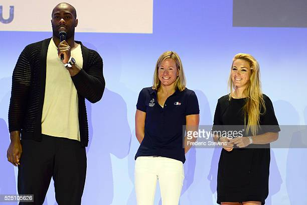 French judoka Teddy Riner swimmer Aurelie Muller and French cyclist woman Pauline Ferrand Prevot broadcast TV during the French Olympic team's launch...