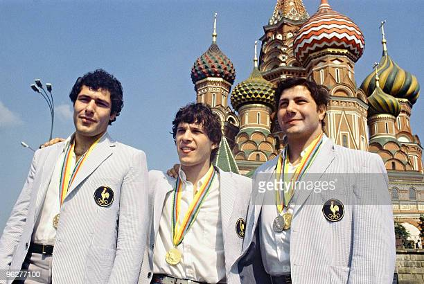 French judokas medalists at the1980 Olympic games face the cameras in front of SaintBasil Moscow Red Square 1980 Angelo Parisi won gold in the...