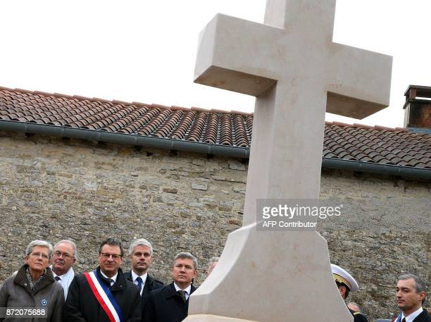 French Junior Defence Minister Genevieve Darrieussecq mayor of ColombeylesDeuxEglises Pascal Babouot and VicePresident of the French rightwing Les...
