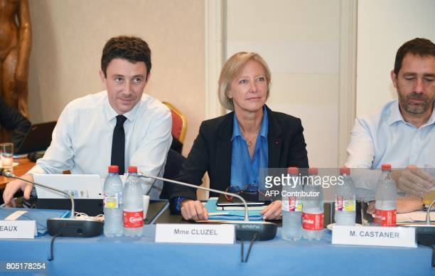 French Junior Economy Minister Benjamin Griveaux and French Junior Minister in charge of Disabled People Sophie Cluzel look on during the Government...