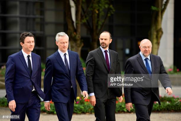 French Junior Economy Minister Benjamin Griveaux French Economy Minister Bruno Le Maire French Prime Minister Edouard Philippe and French Agriculture...