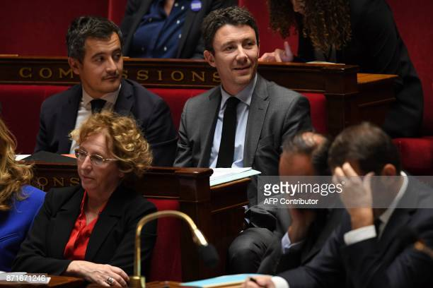 French Junior Economy Minister Benjamin Griveaux French Minister of Public Action and Accounts Gerald Darmanin and French Labour Minister Muriel...